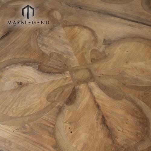 Azulejos de suelo de parquet de madera maciza de madera maciza con interior de diseño clásico con incrustaciones de diseño clásico