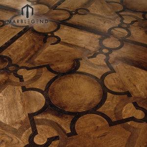 Luxury Design Stainless Steel Oak Wood Inlay Solid Wood Parquet Flooring Tiles