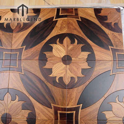 Elegant Flower Design Italian Wood Inlay Solid Wood Parquet Flooring Tiles