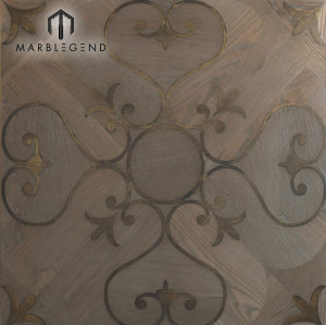 Elegant Western Style Metal Inlay Wood Inlay Parquet Flooring Tiles