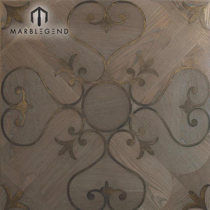 Elegant Western Style Metal Inlay Wood Inlay Parquet Flooring Tiles
