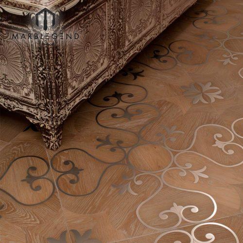 أنيقة الطراز الغربي البطانة المعدنية البطانة باركيه الأرضيات الخشبية