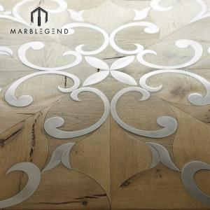 Azulejos de suelo de parquet de estilo francés, con incrustaciones de metal, madera, incrustaciones de madera, interiores