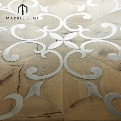 Beautiful French Style Metal Inlay Wood Inlay kitchen indoor Parquet Flooring Tiles