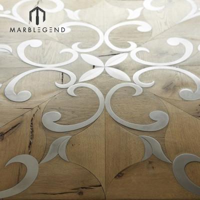 جميلة البطانة المعدنية الفرنسية نمط البطانة الخشبية المطبخ بلاط الأرضيات الداخلية باركيه