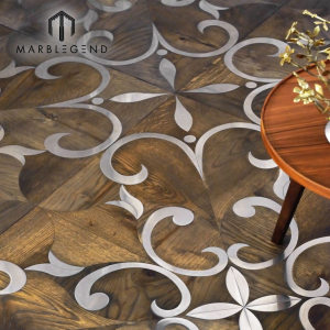Custom French Brass Inlay Walnut Wood Flooring Parquet Pattern