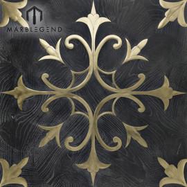 جديد زهرة تصميم نمط ذهبي معدني أسود خشب البطانة الأرضيات الباركيه