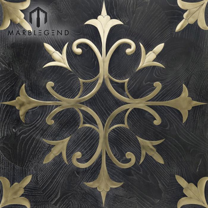 New Flower Design Pattern Golden Metal Black Wood Inlay Flooring Parquet