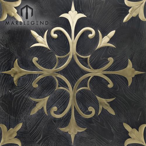 Nuevo diseño floral patrón oro metal negro incrustaciones de madera pisos parquet