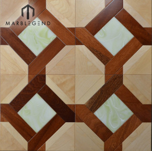 Rhombus Diamond Shaped Design Onyx Marble Inlay Baldosa para pisos de madera