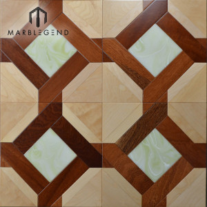 Rhombus Diamond Shaped Design Onyx Marble Wood Inlay Flooring Tile