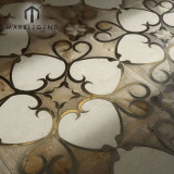 Royalty Hand Made Flower Pattern Marble Wood Inlay Flooring Parquet