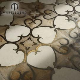 Рукописный цветочный узор Мраморный деревянный инкрустационный паркет