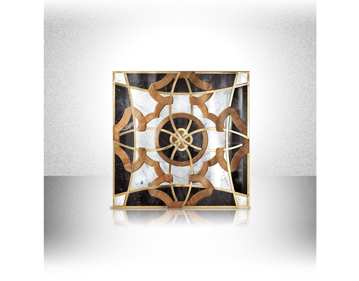 Luxury Frame Pattern White And Black Marble Oak Wood Inlay