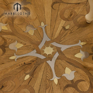 Royalty Flower Engineered Pattern Metal Inlay Wood Inlay Parquet Flooring Tiles