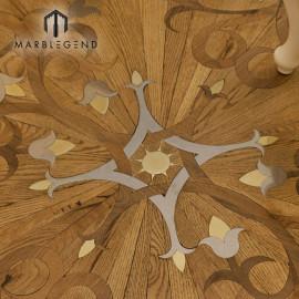 Фондовый цветок спроектированный узор инкрустация металлом деревянные инкрустации паркетные плитки