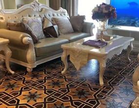 سانتوس روز البطانة الأرضيات الخشبية مع شل
