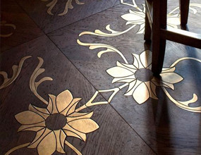 Flower Metal Inlay Wooden Flooing