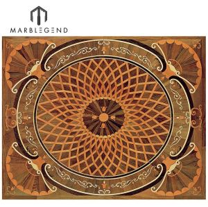 Classic Rectangle Carpet Engineered Pattern Wood Floor Inlay Medallion Flooring