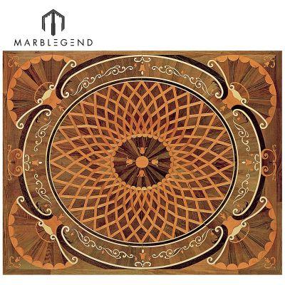 Classic Rectangle Carpet Engineered Pattern Wood Floor Inlay Medallion Flooring