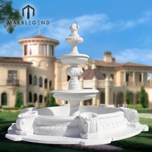 Good sale White marble backyard water fountain for outdoor decoration
