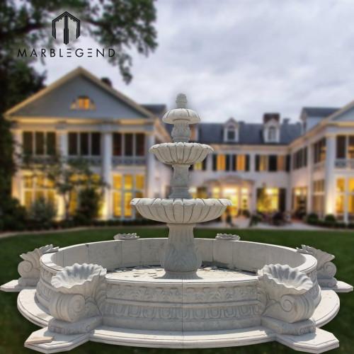 Buena venta de mármol blanco fuente de agua del patio trasero para la decoración al aire libre