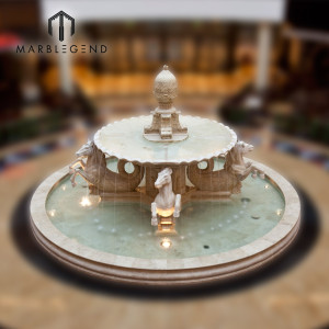 Indoor decoration use marble water fountain with horse statue