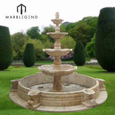 Fuente de agua de mármol de cuatro niveles de decoración al aire libre