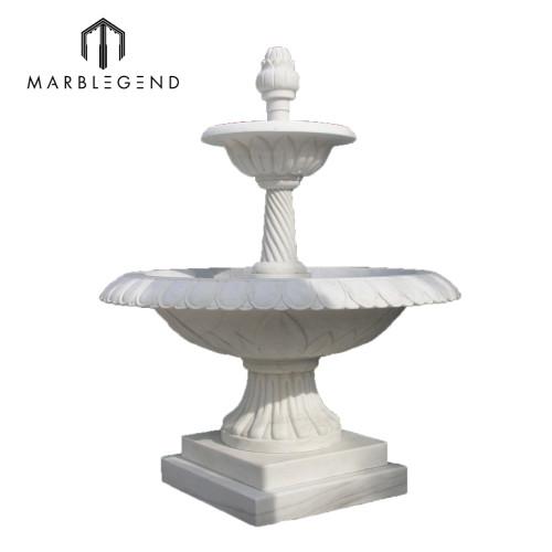 Fuente de agua de mármol blanco decoración de jardín pequeño
