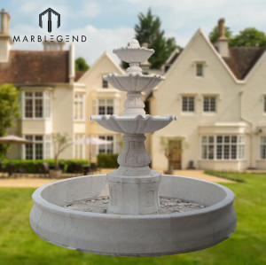 Factory price natural stone marble water fountain four outdoor decoration