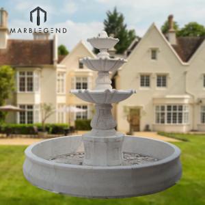 Precio de fábrica de piedra natural de mármol fuente de agua de cuatro al aire libre decoración