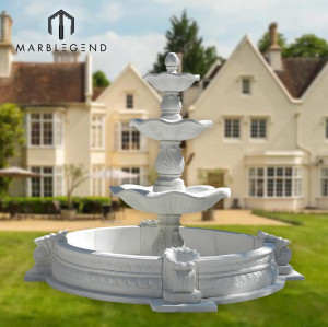 Large outdoor garden use natural white marble water fountain