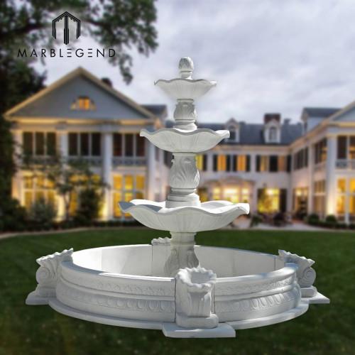 استخدام حديقة كبيرة في الهواء الطلق نافورة مياه رخامية طبيعية بيضاء