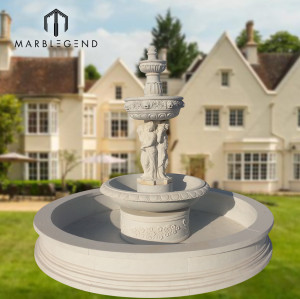 Outdoor garden use natural stone marble water fountain with figure statue