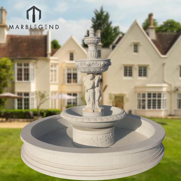 Открытый сад использовать природный камень мрамор фонтан воды с фигурой статуи