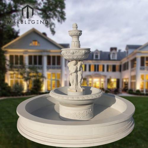 Fuente de agua de mármol de piedra natural del uso al aire libre del jardín con la figura estatua