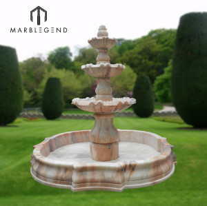Outdoor beige marble lotus shape water pool carving garden water fountain
