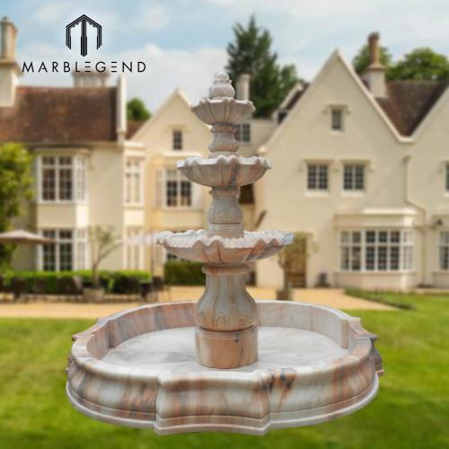 Piscina de agua de forma de loto de mármol beige al aire libre que talla jardín fuente de agua