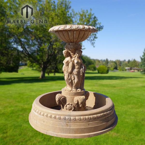 PFM высококачественный натуральный камень открытый сад бежевый мрамор фонтан