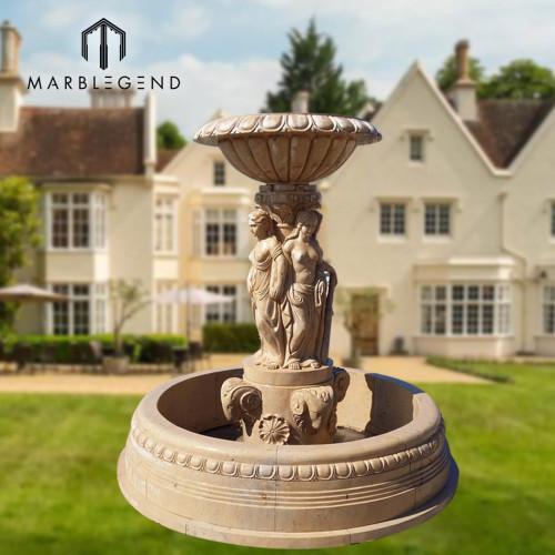 Fuente de agua de mármol beige de jardín de piedra natural de alta calidad PFM