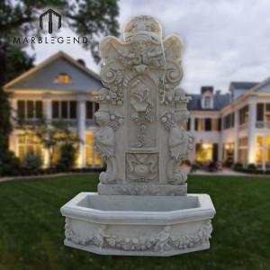 Крытый Натуральный белый мрамор Настенный фонтан с статуей ангела
