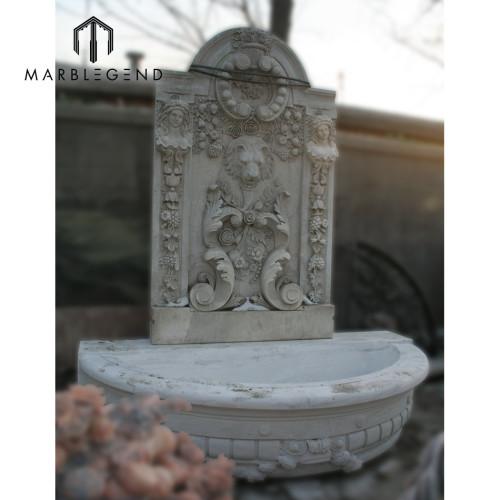 داخلي طبيعي أبيض رخام نافورة ماء حائط مع تمثال ملاك