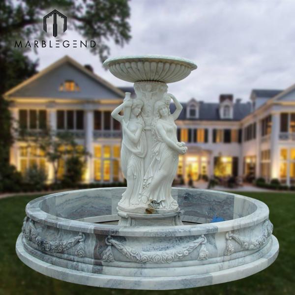 Jardín al aire libre decoración piedra talla figura estatua mármol fuente de agua