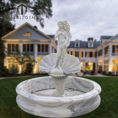 Fuente de agua modificada para requisitos particulares del jardín de la estatua de la sirena del tamaño para la decoración al aire libre