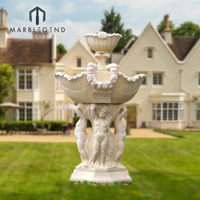 Diseño personalizado líder Gran fuente de agua de mármol para decoración de jardín al aire libre