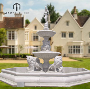 High quality Large outdoor lion and figure statue marble water fountain