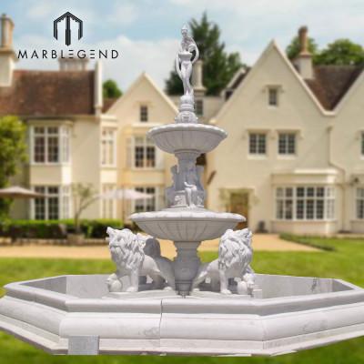 Fuente de agua de mármol grande de alta calidad al aire libre estatua y león estatua