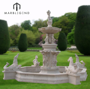 Natural stone large horse and figure statue marble water fountain for garden decoration