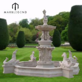 الحجر الطبيعي حصان كبير و الرقم تمثال نافورة المياه الرخام لتزيين الحديقة