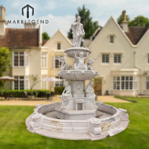 Outdoor decoration large statue marble water fountain for sale